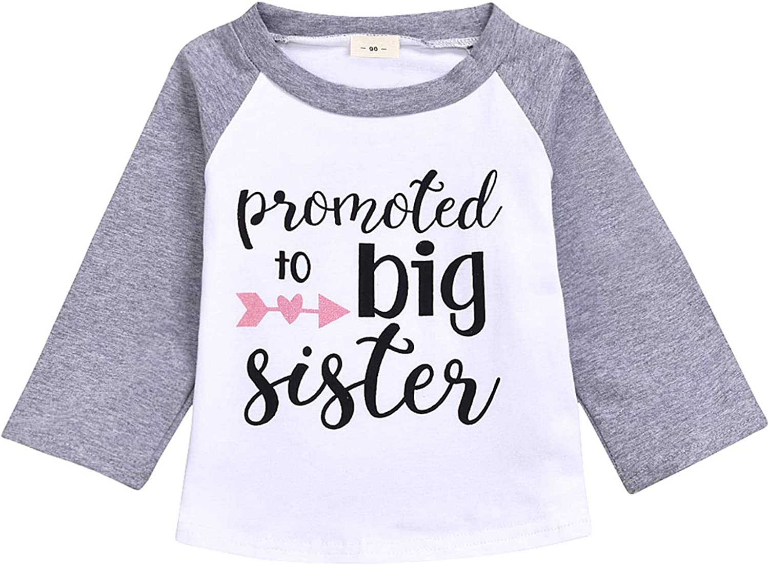 JEELLIGULAR Toddler Girls Clothes Promoted to Big Sister Print Long Sleeves Top T-Shirts