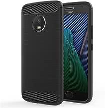 Moto G5 Plus Case - MoKo Ultra Slim Lightweight Carbon Fiber Design Flexible Soft TPU Bumper Shock Absorption Rubber Protective Case Cover for Motorola Moto G5 Plus, Black