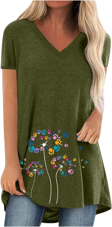 shaozheny Fresno Mall Women Tops Women's 5 popular Casual Sleeve Pleated Shirt T Short