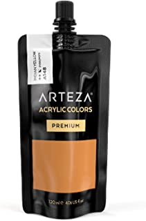 ARTEZA Acrylic Paint Indian Yellow Color (120 ml Pouch, Tube)