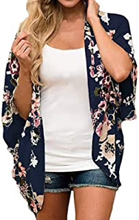 Finoceans Womens Floral Chiffon Kimono Cardigans Loose...