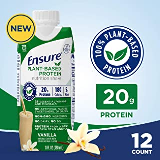 Ensure 100% Plant-Based Protein Vegan Nutrition Shakes with 20G Fava Bean and Pea Protein, Vanilla, 11 Fl. Oz, 12 Count