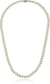 Sterling Silver White A-Grade Freshwater Cultured-Pearl Necklace