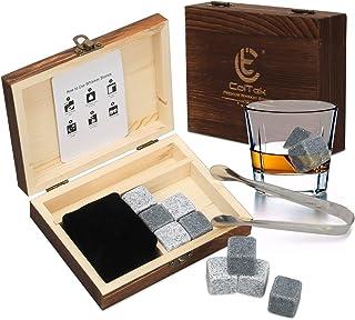 COITEK Whisky Steine Set, 9 Stück Wiederverwendbare Eiswürfel Kühlsteine in hochwertiger Geschenk Holzbox für Whiskey-Genießer