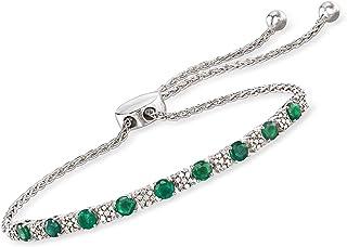 925 Silver Diamond Accent Love Arrow Charm Leather Cord and Chain Bolo Bracelet