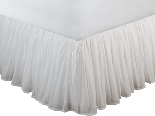Greenland Home Fashions Cotton Voile Bedskirt White 15 Inch L Twin