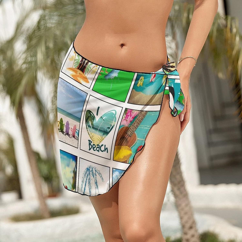 JINJUELS Women's Bikini Swimsuit Cover Up Summer Hawaii Beach Pineapple Summer Beach Wrap Skirt Pareo Sarong