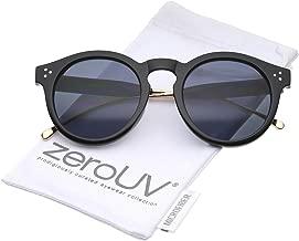 Metal Temple Keyhole Bridge Neutral-Colored Lens P3 Round Sunglasses 50mm