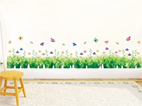 Amazon Brand - Solimo Wall Sticker for Bedroom (Nature's Floral Fence, Ideal Size on Wall, 137 cm x 33 cm)