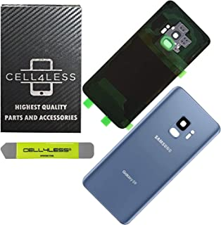CELL4LESS Compatible Back Glass Cover Back Door w/Pre-Installed Camera Frame l Adhesive - Removal Tool - Camera Lens & Frame for Samsung Galaxy S9 OEM - All Models G960 All Carriers (Blue)