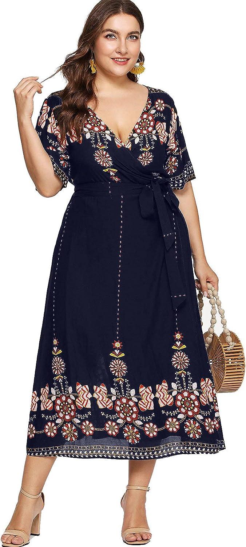 Milumia Women Plus Size Tribal Wrap V Neck Short Sleeves Empire Waist Maxi Dress