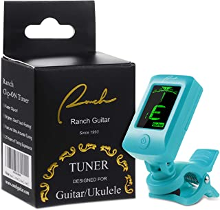 Ranch Clip-On Tuner Specialized for Ukulele and Guitar Beginner Standard Tuning - Blue