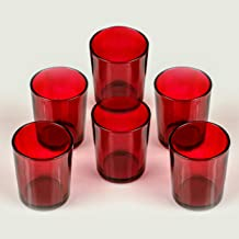 TIED RIBBONS Set of 6 Red Votive Tealight Candle Holders for Christmas Lighting Home Decoration and Corporate Gifts(Glass,...
