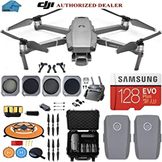 DJI Mavic 2 Pro Drone Quadcopter, with 2 Batteries, Waterproof Hard Case, and ND, Cpl Lens Filters, 128GB SD Card with Hasselblad Video Camera Gimbal Bundle Kit with Must Have Accessories