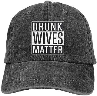 YINREN Drunk Wives Matter Novelty Unisex Washed Cap Adjustable Dad's Denim Stetson Hat Black Cap