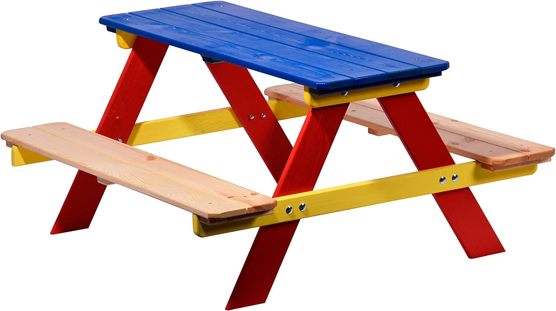 Legno FSC Come Un Tavolo e sedie con Panca Picnic o Casin/ò 90 x 85 x 45 cm dobar Bambini Divano per i Quattro Figli colorato