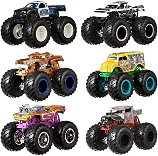 Hot Wheels FYJ64 Monster Trucks 1:64 Demo Doubles Collection, 2 count ,Multicolor