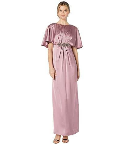 Adrianna Papell Capelet Stretch Satin Gown with Beaded Trim (Rose) Women