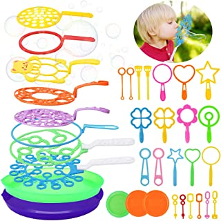 B bangcool Bubble Wands Set - Big Bubbles Wand Funny Bubbles Maker, Nice for Outdoor Playtime & Birthday Party & Games, Suitable for All Age People (35 PCS)