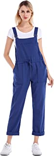 Yeokou Women's Casual Loose Baggy Cotton Linen Jumpsuit Overalls with Pockets