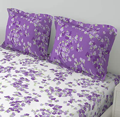 DDECOR Live beautiful 1 Double Bedsheet with 2 Pillow Covers, Cotton, Purple