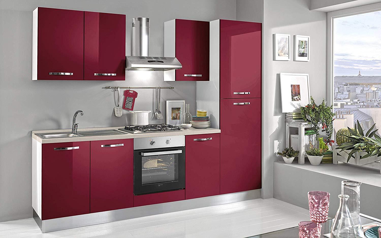 Cocina completa - Lado DX cm. 255 x 60 x 216h - Campana, horno ventilado, lavabo, frigorífico, frigorífico, placa de cocción a gas con 4 fuegos, n.° 6 y un cajón.: Amazon.es: Hogar