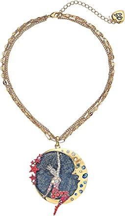 Moon & Showgirl Round Pendant Necklace
