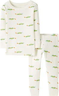 Moon and Back by Hanna Andersson Kids' Toddler 2 Piece Long Sleeve Pajama Set, Ecru, 2T