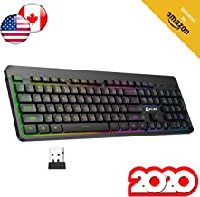 KLIM Light V2 Rechargeable Wireless Keyboard US Layout+ Slim, Durable, Ergonomic, Silent Keys+ Backlit Wireless Gaming Keyboard For Laptop PC Mac PS4 Xbox One + Long-lasting Built-In Battery+ NEW 2020