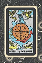 "Wheel of Fortune: Journal - Lined Paper Notebook - Vintage Tarot Card on Celestial Astrological Background Black (TR JO 6""..."