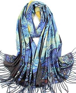 Women Soft Cashmere Wool Scarf Large Warm Scarves Winter Shawl Elegant Wrap Van Gogh's Art Collection