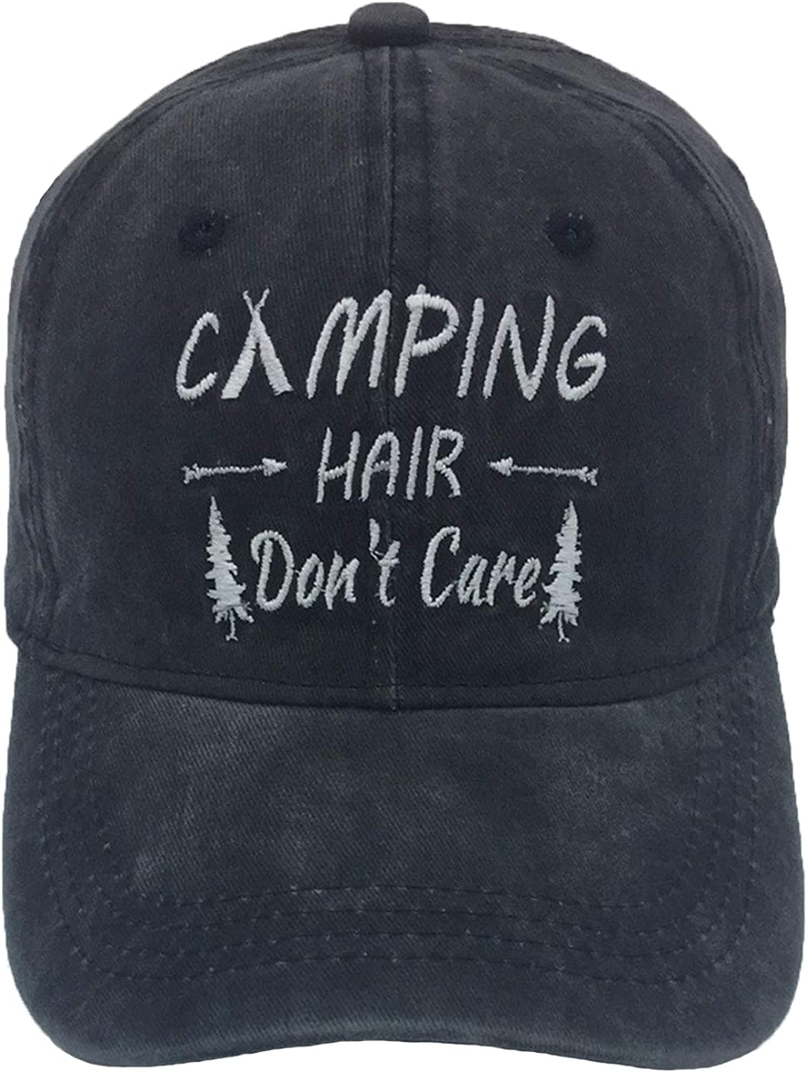 6e9cf6c4 SARA NELL Unisex Embroidered Embroidered Embroidered Baseball Cap Camping  Hair Don't Care Vintage Adjustable Dad Hat Black f6c284