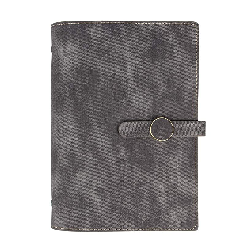 Grope Fashion Writing Journal Refillable A5 Binder 6 Ring PU Leather Cover Loose Leaf Personal Organizer Pen Holder Magnetic Business Notebook with Card Pockets 80 Sheets 160 Pages (Gray)