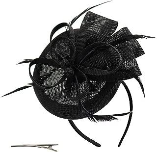 Wheebo Fascinator Hat Flower Feather Mesh Veil Wedding Tea Party Derby Cocktail Hat Headwear for Women Lady Girls