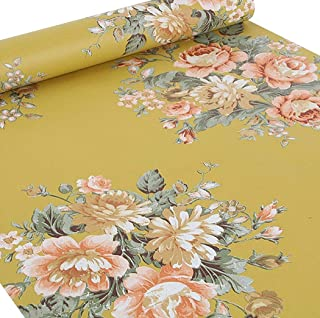 Walldecor1 Vintage Peony Floral Contact Paper Self Adhesive Shelf Liner Decorative Dresser Drawer Sticker 17.7 x 78.7 Inches (Yellow)