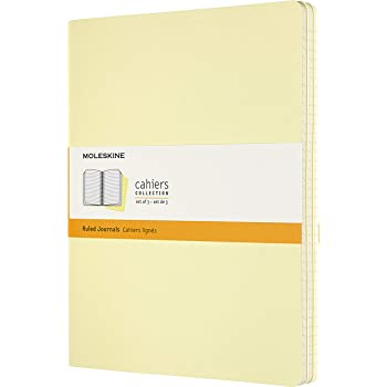 """Moleskine Cahier Journal, Soft Cover, XL (7.5"""" x 9.5"""") Ruled/Lined, Tender Yellow, 120 Pages (Set of 3) (8058647629728)"""