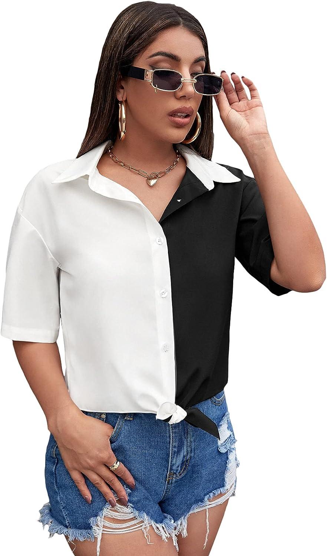 Milumia Women's Colorblock Blouse Button Down Collar Knot Hem Short Sleeve Shirt Top