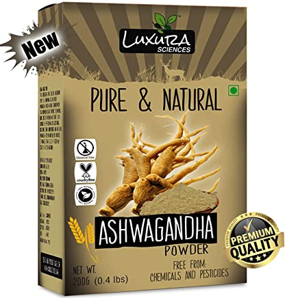 Luxura Sciences Natural Ashwagandha Powder 200 Grams (Withania somnifera).100% Pure, Double Filtered and Quality Guaranteed.FSSAI Approved.