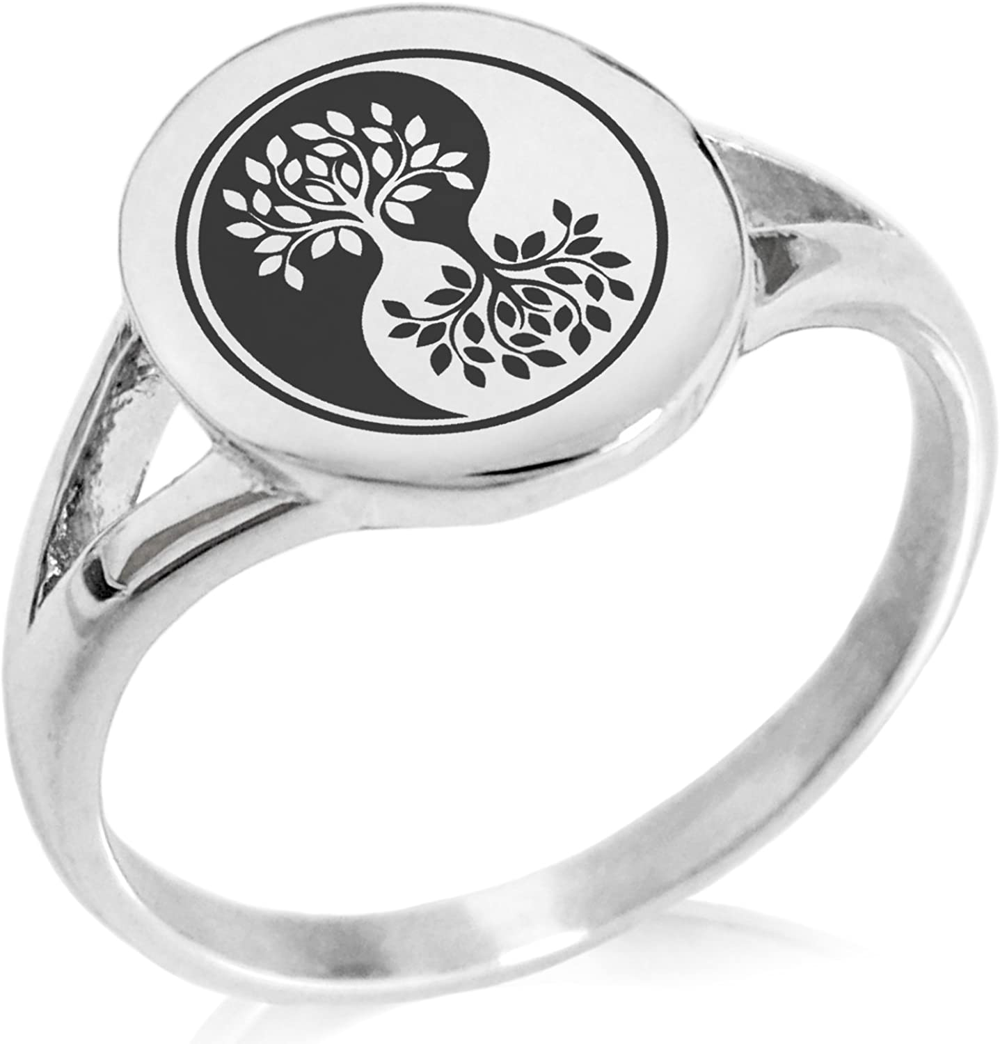 Tioneer Stainless Steel Tree of Life Yin Yang Symbol Minimalist Oval Top Polished Statement Ring