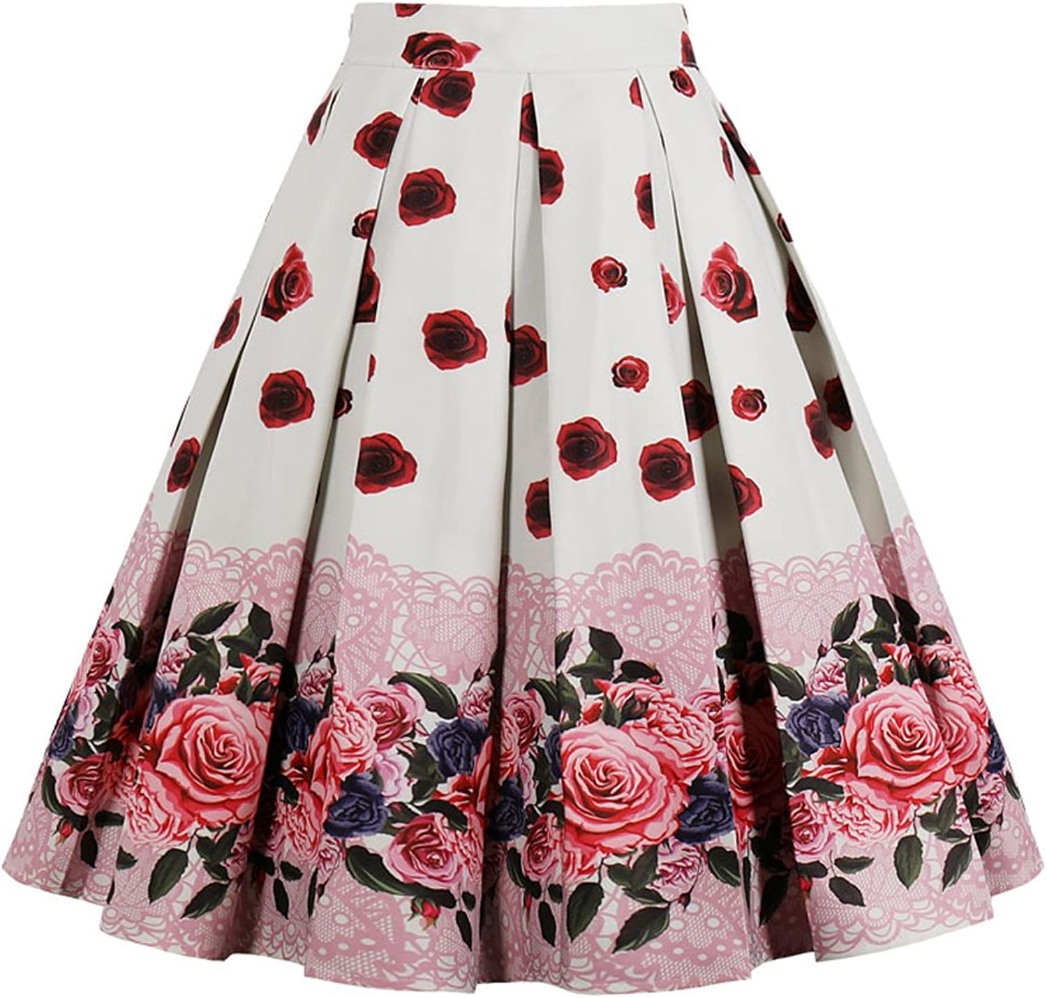 Women A-Line Skirts Casual Floral Print Midi Vintage Skirt