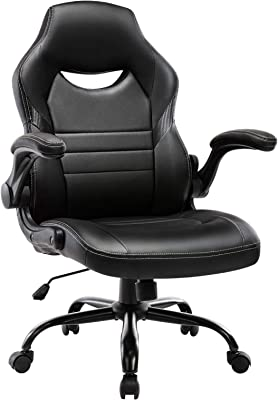 STARSPACE Flip-Up Arms Office Gaming Chair, Ergonomic Swivel Computer Racing Game Chair Adjustable Desk Task Chair (Black)