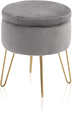 ALPHA HOME Round Storage Ottoman with Removable Lid Tufted Vanity Dressing Chair Velvet Fabric Shoe Change Footrest Stool Side Table Seat Tray Top Coffee Table with Golden Chromed Metal Legs,Grey