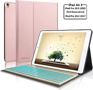 "Keyboard Case for iPad Pro 10.5 Inch- iPad Air 2019(3rd Gen) 10.5""- iPad Pro 10.5 2017-7 Color Backlit Wireless Bluetooth Smart Keyboard- Auto Wake/Sleep- Rose Gold"