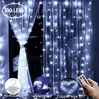 Curtain String Lights 300 LEDs Window Curtain Fairy Lights Copper Wire Twinkle Star String Lights USB Remote Control 8 Modes Hanging Lights for Bedroom Decor Indoor Outdoor, Wedding - Cool White