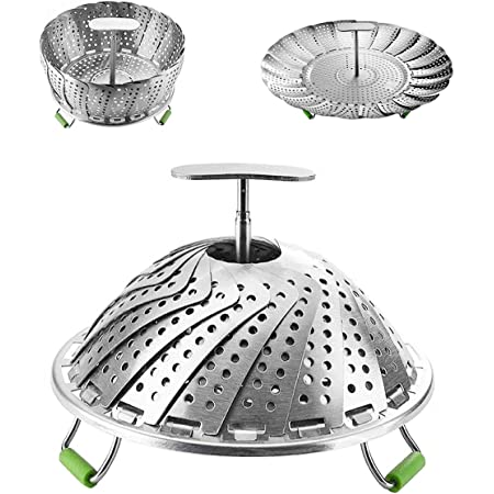 Kitchen Expandable  Collapsible Mesh Strainer Folding Vegetable Food Steamer Basket Stainless Steel Drain Rack