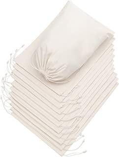 100 Percent Cotton Muslin Drawstring Bags 12-Pack For Storage Pantry Gifts 10 x 12 inch - 12 pack