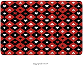 Memory Foam Bathroom Rugs, Poker Tournament Decorations,Card Suit Chess Board Classic Checkered Pattern Symbols Decorative,Red Black White, Non-Slip Bath Mat Soft Absorbent Kitchen Rug Shower Floor Ca