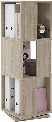 FMD Möbel 291-001_ei Tower Etagère Pivotante de Rangement avec 3 Compartiments Chêne