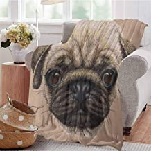 Luoiaax Pug Comfortable Large Blanket Detailed Portrait Drawing of a Dog Realistic Design of The Pet Animal Digital Art Microfiber Blanket Bed Sofa or Travel W54 x L72 Inch Tan Pale Brown