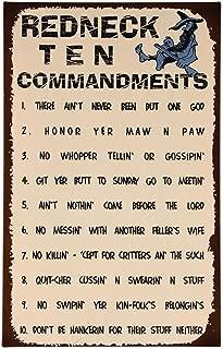 Redneck Ten Commandments 16 x 10 inch Tin Humorous Wall Sign Plaque Decoration